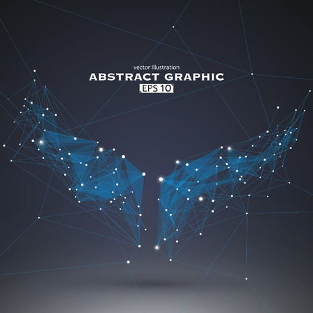 Wings shapes, dots and lines connected together, a sense of science and technology illustration.