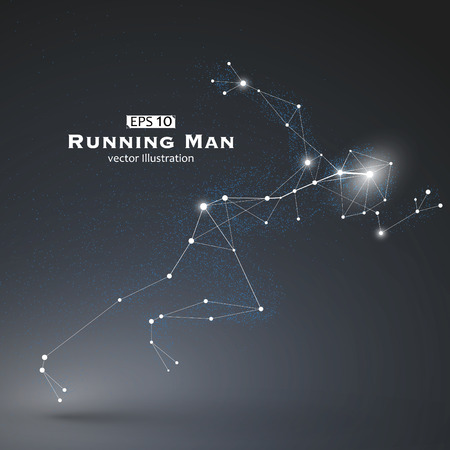 growing up: Running Man, dots and lines connected together, a sense of science and technology illustration.