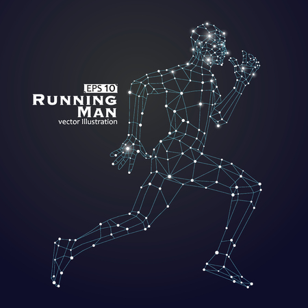 Running Man, dots and lines connected together, a sense of science and technology illustration  イラスト・ベクター素材