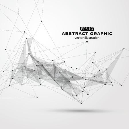 Dot, lijn en oppervlak bestaande uit abstracte graphics. Vector Illustratie