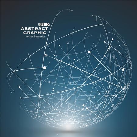 Punto y la curva construyen la esfera de estructura metálica, sentido tecnológico ilustración abstracta. Foto de archivo - 52521663