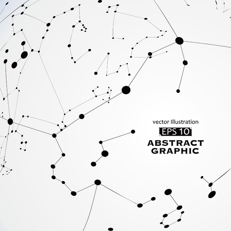 Punt en lijn geconstrueerd de technologische zin abstracte illustratie. Stock Illustratie