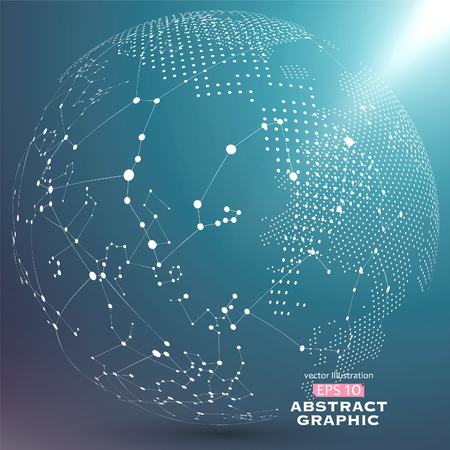 world globe: Point and curve constructed the sphere wireframe, technological sense abstract illustration. Illustration