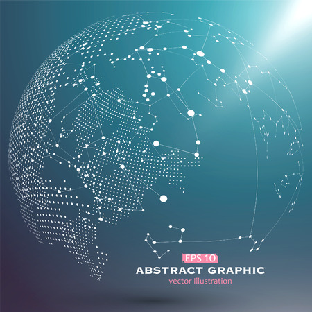 geography background: Point and curve constructed the sphere wireframe, technological sense abstract illustration. Illustration