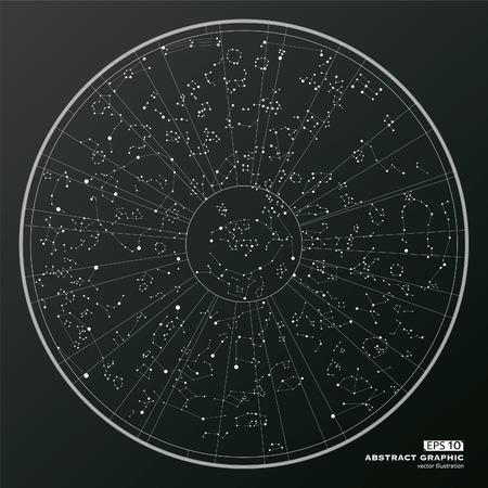 Point en curve geconstrueerd abstract grafisch, oosterse astrologie.