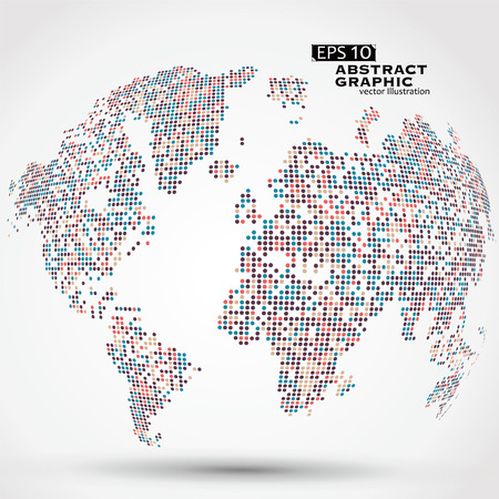 Dots coloré de carte en trois dimensions du monde, graphiques abstraits.