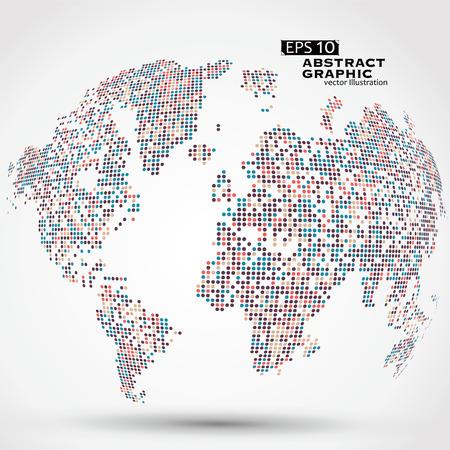 Puntini colorati mappa tridimensionale del mondo, grafiche astratte.
