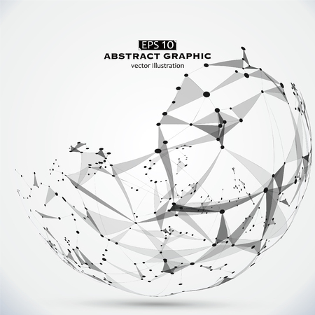 dot surface: Dot, line and surface constructed the technological sense abstract illustration. Illustration
