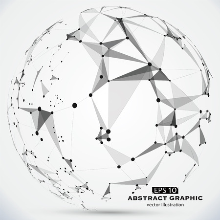 constructed: Dot, line and surface constructed the technological sense abstract illustration. Illustration