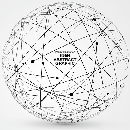 Point and curve constructed the sphere wireframe, technological sense abstract illustration. Ilustrace
