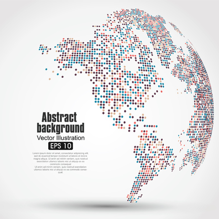 concetto: Puntini colorati mappa tridimensionale del mondo, grafiche astratte.