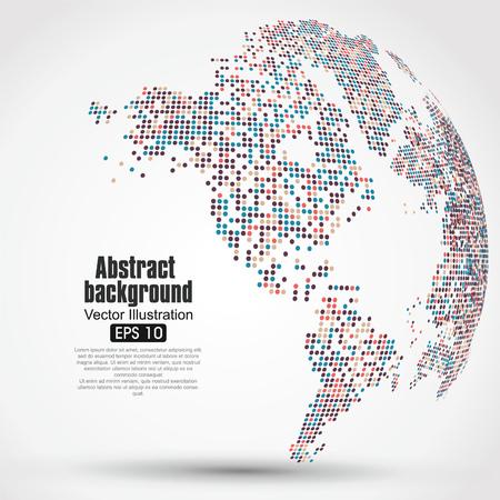 zeměkoule: Tečky barevné trojrozměrné mapy světa, abstraktní grafika.