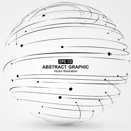 streamlined: Points and curves of spiral abstract graphics. Illustration