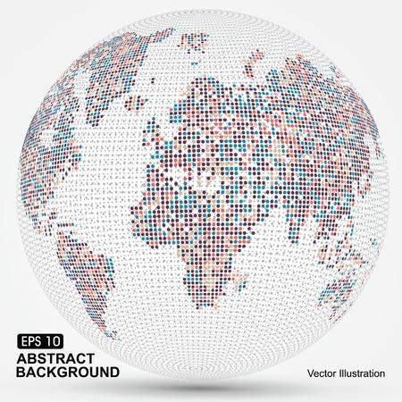 wereldbol: Dots kleurrijke driedimensionale kaart van de wereld, abstract graphics. Stock Illustratie
