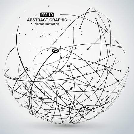 global network: Point and curve constructed the sphere wireframe, technological sense abstract illustration. Illustration