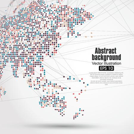Dots bunte dreidimensionale Karte der Welt, abstrakte Grafik. Illustration