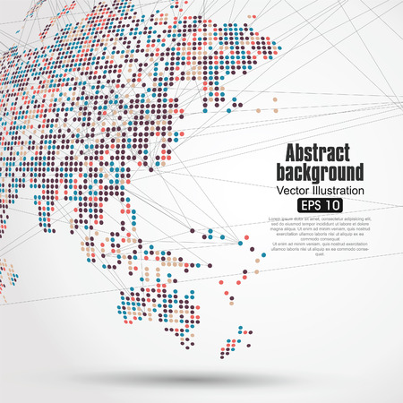 threedimensional: Dots colorful three-dimensional map of the world,abstract graphics.