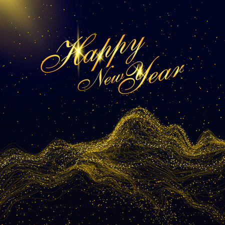 Particles of gold mountains, can be used as the background of the New Year.
