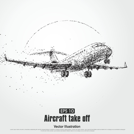 Aircraft take off,particle divergent composition, vector illustration.