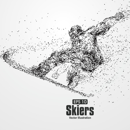 skiers: Skiers,particle divergent composition, vector illustration. Illustration