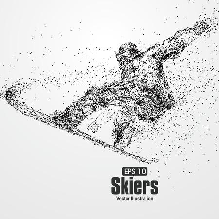 Skifahrer, Partikeldivergent Zusammensetzung, Vektor-Illustration. Illustration