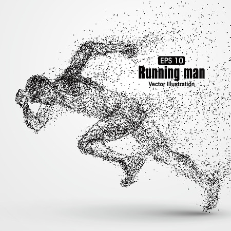running race: Running Man, particle divergent composition, vector illustration.