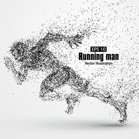 athletes: Running Man, particle divergent composition, vector illustration.