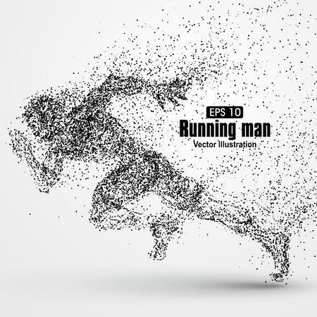 Running Man, Partikel divergent Zusammensetzung, Vektor-Illustration.