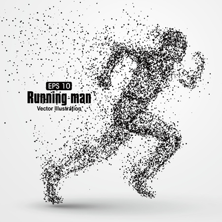 growing up: Running Man, particle divergent composition, vector illustration.
