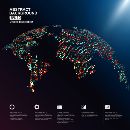 colorful three-dimensional map of the world with dots