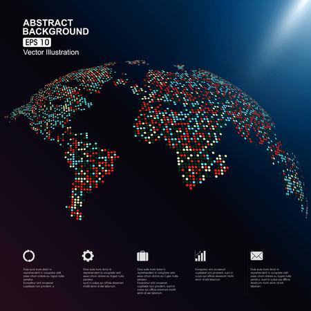 mapa tridimensional colorido del mundo con puntos