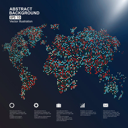 three-dimensional map of the world with colorful dots