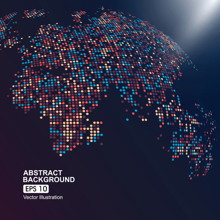 three-dimensional map of the world with colorful dots Çizim