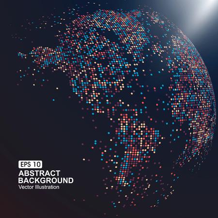gráfico: mapa tridimensional do mundo com pontos coloridos