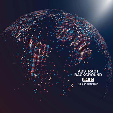 Trójwymiarowa mapa świata z kolorowymi kropkami