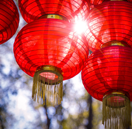 joyous festivals: Red lanterns, oriental charm, the Spring Festival atmosphere.