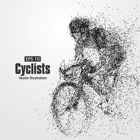bicyclette: Cyclistes, particule composition divergente, illustration vectorielle.