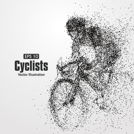 competitions: Cyclists, particle divergent composition, vector illustration.