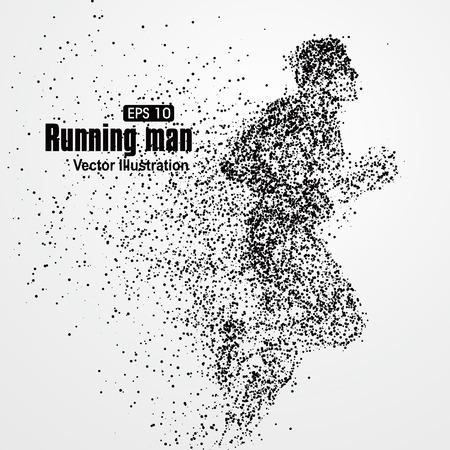persone nere: Running Man, particella composizione divergenti, illustrazione vettoriale.