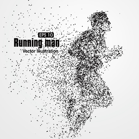 runners: Running Man, particle divergent composition, vector illustration.