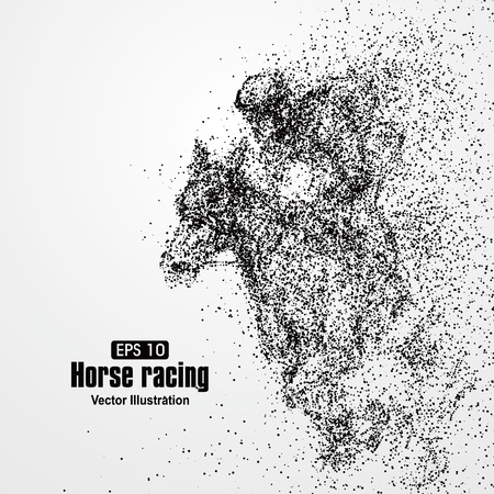 equine: Horse racing, particle divergent composition, vector illustration.
