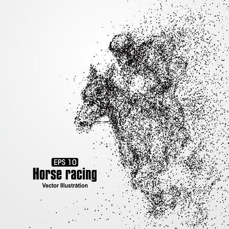 bocetos de personas: Las carreras de caballos, partícula composición divergente, ilustración vectorial.