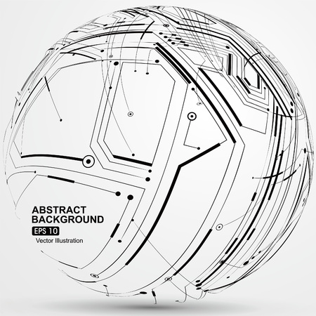 constructed: Point and line constructed the sphere wireframe, technological sense abstract illustration. Illustration