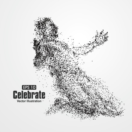 male athlete: After the victory celebration, particle divergent composition, vector illustration.