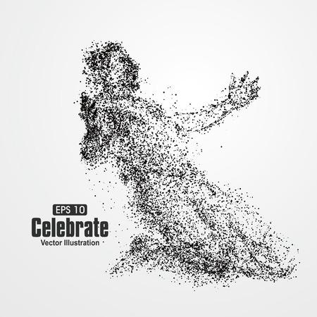 silueta hombre: Después de la celebración de la victoria, la composición de las partículas divergentes, ilustración vectorial.