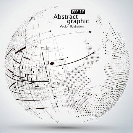 Point and curve constructed the sphere wireframe, technological sense abstract illustration. Stok Fotoğraf - 52745079