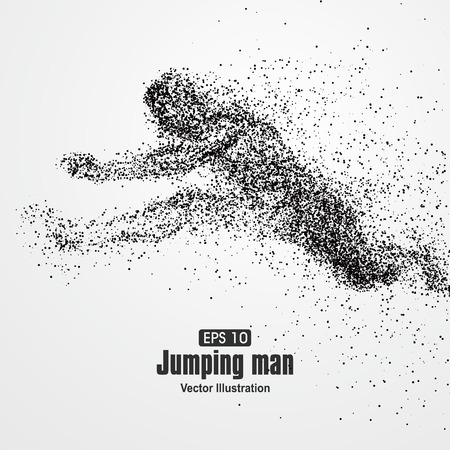 El salto del hombre, partícula composición divergente, ilustración vectorial.