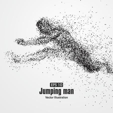 jumping: El salto del hombre, partícula composición divergente, ilustración vectorial.