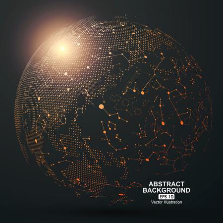 globo terraqueo: Punto y la curva construyen la esfera de estructura metálica, sentido tecnológico ilustración abstracta.