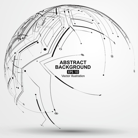 wireframe globe: Point and line constructed the sphere wireframe, technological sense abstract illustration. Illustration